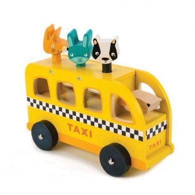 Tender Leaf Toys - Drewniany Samochód Taksówka ze Zwierzątkami 18m+