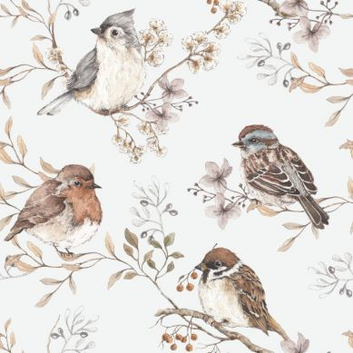 Dekornik - Tapeta Birds White Gray
