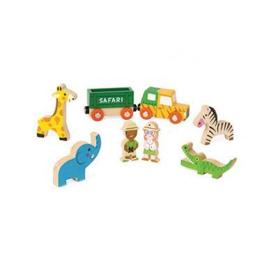 Janod - Kolekcja Story Zestaw Drewniany 8 Elementów Dzikie Zwierzęta