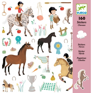 Djeco - Zestaw 160 Naklejek Konie