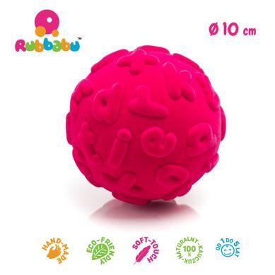 Rubbabu - Piłka Edukacyjna Sensoryczna Małe Litery Różowa