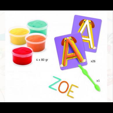 Djeco - Zestaw Artystyczny z Masą Plastyczną Alfabet