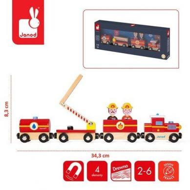 Janod - Pociąg Drewniany Straż Pożarna Story Nowa Kolekcja 2+