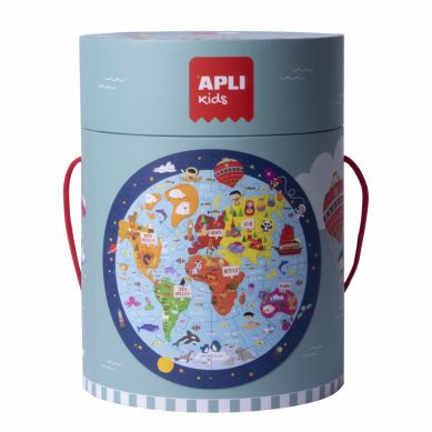 Apli Kids - Puzzle Okrągłe w Tubie Mapa Świata 5+