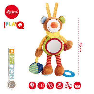 Sigikid - Przytulanka aktywizująca Miś z gryzakiem, lusterkiem, wibracją i szeleszczącą folią 6m+ PlayQ