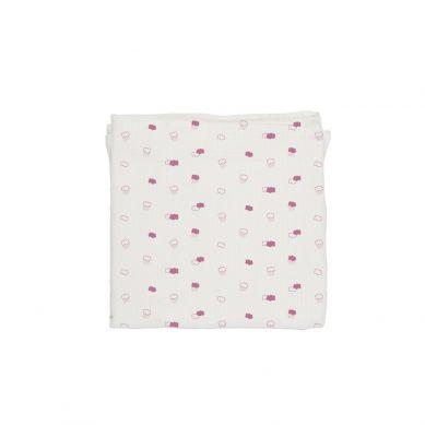 Baby Bites - Pieluszka Muślinowa 120x120 cm Pink Clouds White