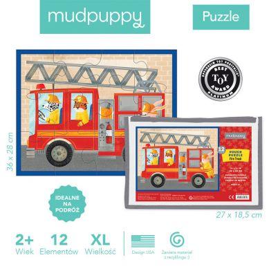 Mudpuppy - Puzzle w Saszetce 12 Elementów Wóz Strażacki