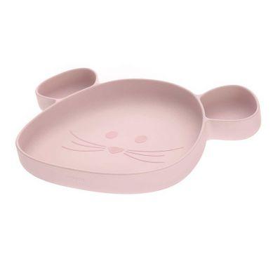 Lassig - Talerz silikonowy z przyssawką Little Chums Mysz Różowy