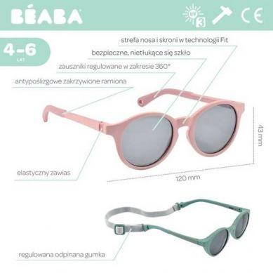 Beaba - Okulary Przeciwsłoneczne dla Dzieci 4-6 lat Misty Rose