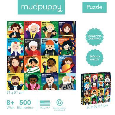 Mudpuppy - Puzzle Rodzinne Zwierzęta Wybitni Naukowcy 500el 8+