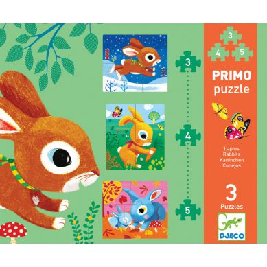 Djeco - Puzzle 3 Plansze 3,4, 5el. Króliki