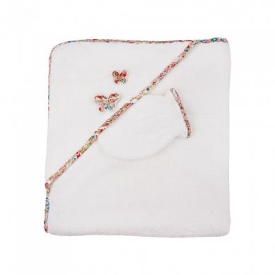 Trousselier - Ręcznik z Myjką Fleurs Rouge