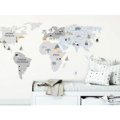 Pastelowelove - Naklejka na Ścianę Mapa Szara M 140x70 cm