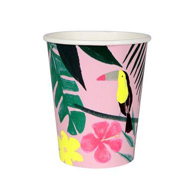 Meri Meri - Zestaw Kubeczków Urodzinowych Pink Tropical