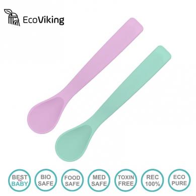 Eco Viking BLW Flexi Spoon Lavender + Mint silikonowe łyżeczki 2 szt