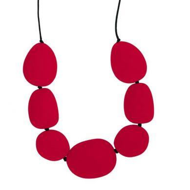 Jellystone - Naszyjnik Silikonowy Gryzak Kamienie Czerwony