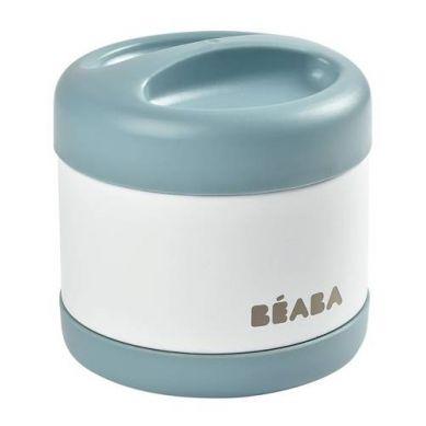 Beaba - Pojemnik - Termos Obiadowy ze Stali Nierdzewnej z Hermetycznym Zamknięciem Duży 500 ml Baltic Blue/White