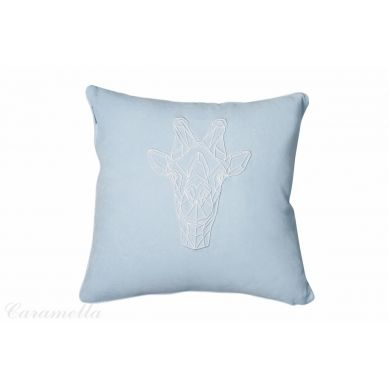 Caramella - Poduszka Welurowa Błękitna ze Żyrafą