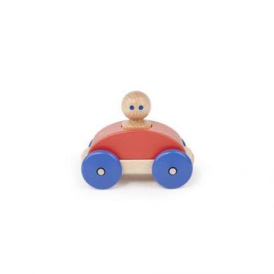 Tegu - Drewniane Klocki Magnetyczne Baby and Toddler Wyścigówka Poppy Blue 1+