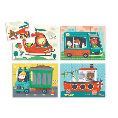 Mudpuppy - Puzzle 4w1 Pojazdy 4, 6, 9 i 12 Elementów