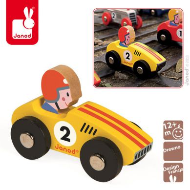Janod - Wyścigówka Drewniana Racer Żółta