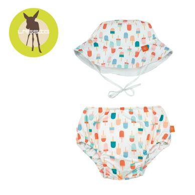 Lassig - Zestaw Kapelusz i Majteczki do Pływania z Wkładką Chłonną UV 50+ Ice Cream 18m