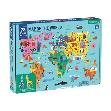 Mudpuppy - Puzzle Mapa Świata z elementami w Kształcie Budynków i Zwierząt 5+