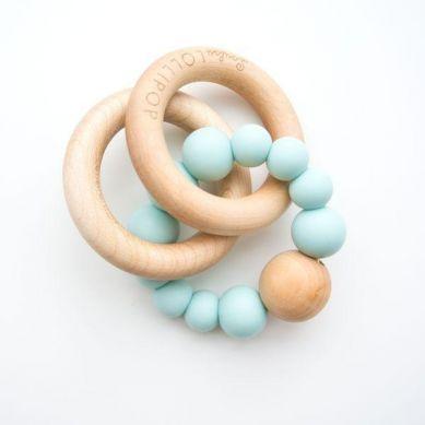 Loulou Lollipop - Gryzak Drewniany z Koralikami Egg Blue 3m+
