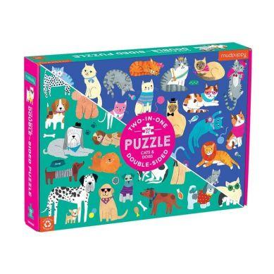 Mudpuppy - Dwustronne Puzzle Koty i psy 100 elementów 6+