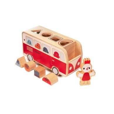 Lilliputiens - Drewniany Autobus Sorter z 4 Kurczaczkami Kokoszka Paulette 12 m+