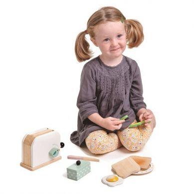 Tender Leaf Toys - Drewniany Toster z Zestawem Śniadaniowym Mini Chef 3+