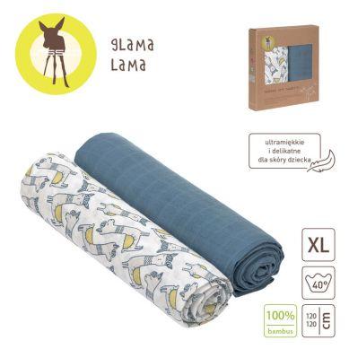 Lassig - Bambusowy Otulacz-Kocyk 120x120cm Zestaw 2 szt. Glama Lama Blue