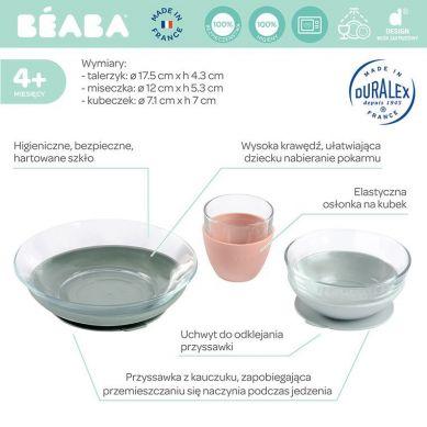 Beaba - Komplet Naczyń z Hartowanego Szkła Duralex® z Podstawkami z Kauczuku Eucalyptus