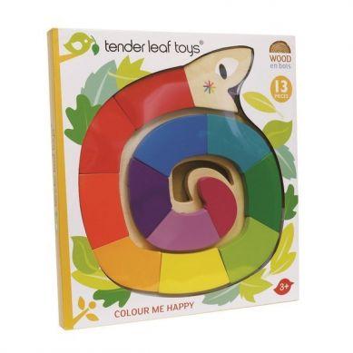 Tender Leaf Toys - Drewniana Zabawka Kolorowy Wąż, Kolory i Kształty 18m+