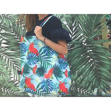 La Millou - Shopper Bag - Blue Hawaiian Flowers