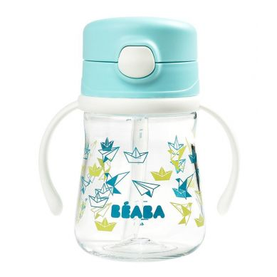 Beaba - Butelka Bidon Tritanowa ze Słomką 240 ml Light Blue