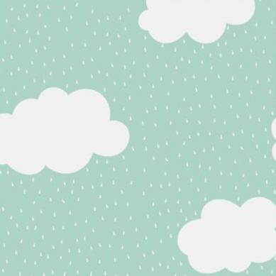 La Millou - Prześcieradło Good Night 70x140 cm Clouds on Mint