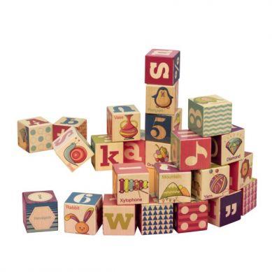B.Toys - Drewniane Klocki z Literkami i Obrazkami w Drewanianej Tacy