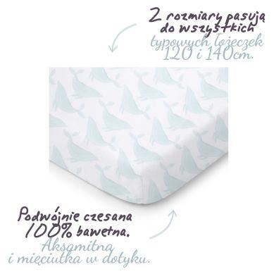 ColorStories -Prześcieradło do łóżeczka 140x70cm Whales Aqua