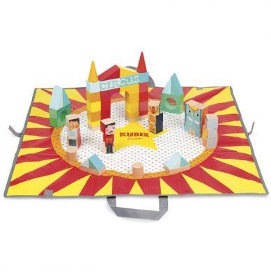 Janod -  Klocki Drewniane z Matą do Zabawy Kubix 60 sztuk Circus
