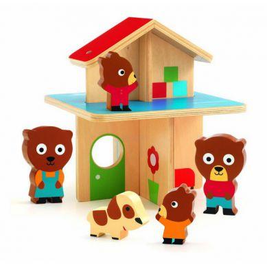 Djeco Drewniany Domek z Misiami