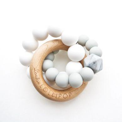 Loulou Lollipop - Gryzak Drewniany z Koralikami Trinity Cool Grey