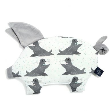 La Millou - Podusia do Wózka Sleepy Pig Velvet Collection Icy Seal Dark Grey