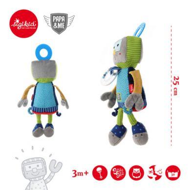 Sigikid - Przytulanka Aktywizująca Robot z Grzechotką, Gryzakiem i Szeleszczącą Folią Papa&Me
