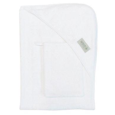 Bamboom - Ręcznik z Kapturkiem + Myjka 100% Bambus Organiczny Biały
