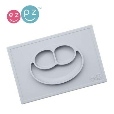 EZPZ - Silikonowy Talerzyk z Podkładką 2w1 Happy Mat Pastelowy Szary