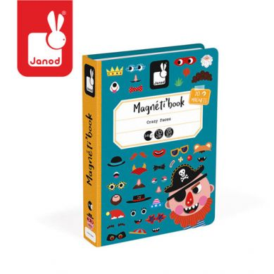 Janod - Magnetyczna Układanka Śmieszne Buzie Chłopiec Magnetibook Kolekcja 2018