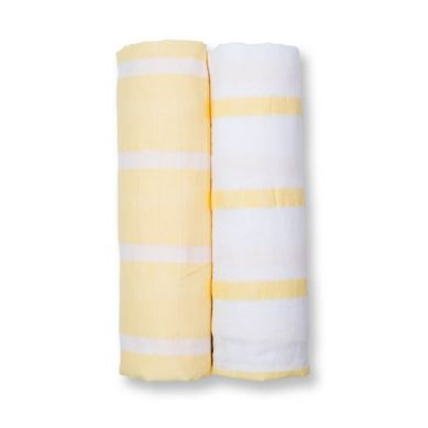 Lulujo - Otulacz Muślinowy 2szt Yellow Strip