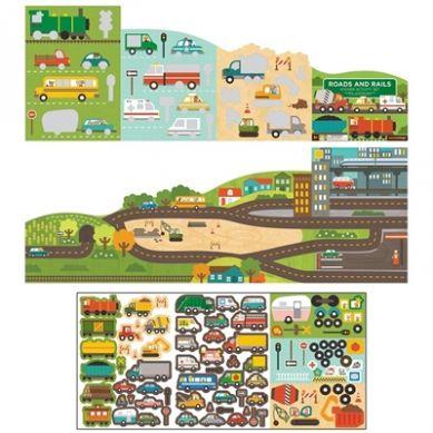 Petit Collage - Naklejki z Planszą Drogi i Szyny
