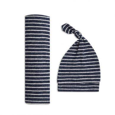 aden+anais - Zestaw Miękki Kocyk i Czapeczka Snuggle Knit - Navy Stripe